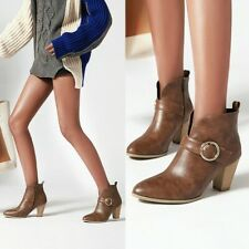 Casual Womens Metal Buckle Side Zipper Ankle Boots Plush Lining Winter Booties
