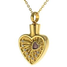 Asche Anhänger Herz Farbe Gold Zirkonia Steine und kostenloser Gravur AP 128