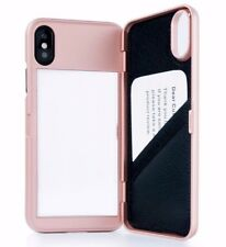 For iPhone X - ROSE GOLD Hidden Mirror Wallet Case Cover w/ Stand + Card Holders
