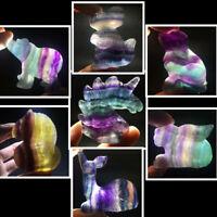 "2"" Natural fluorite quartz Animals Skull  Hand Carved crystal reiki healing 1pc"