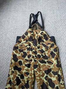 vintage BROWNING hunting GORETEX camouflage bibs XL frogskin INSULATED brown