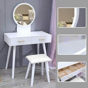 Dressing Table Stool Set Vanity Makeup Desk Dimmable Mirror LED Lights Organizer