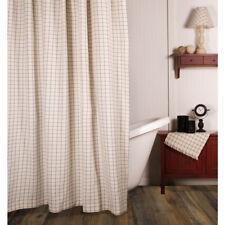 Colonial Blue Cream Plaid Shower Curtain Farmhouse Bath RAGHU Summerville 72x72