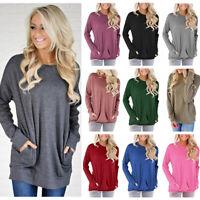 Women Round Neck Long Sleeve Sweatshirt Pocket Pullover T-Shirt Loose Tunic Tops