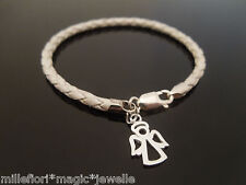 """3mm White Braided Leather Bracelet Sterling Silver Angel Charm 7"""" 7.5"""" 8"""" 8.5 9"""""""