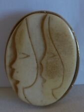 ELANOMI ISRAEL PIN BROOCH PENDANT HAND CARVED  COW / CAMEL BONE - 2 WOMEN FACE