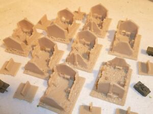 8 unpainted model ruined buildings for 6mm wargames, 1/300th and 1/285th scale
