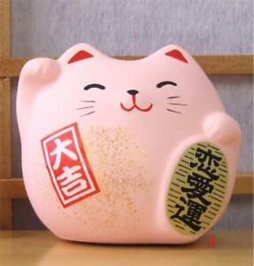 Maneki Neko Feng Shui Lucky pink cat for love