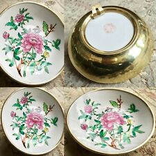 """Superb Antique Chinese Victorian 7""""/18cm China Bowl In Ready To Hang Brass Case"""