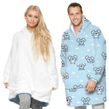 Fleece Hoodies Blanket Reversible Oversized Plush Sherpa Sweatshirts One size