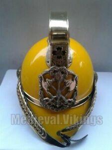 Nautical Vintage British style Yellow brass fireman helmet full size replica