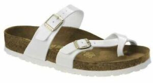 Birkenstock Mayari White Patent Birko-Flor Sandals Slides Thongs EU36 US L5