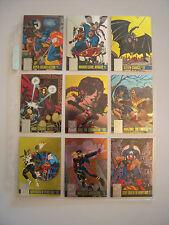 MARVEL  DC  AMALGAM  SUB SET  COMPLET 9 CARDS  POWER BLAST   1996 TBE