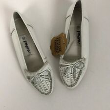 1980s Shoes Flats / Nos 80s White Leather Slip On Moccasins Unworn / Women's 5