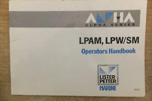 lister petter alpha series LPAM LPW/SM  marine diesel engine operators handbook