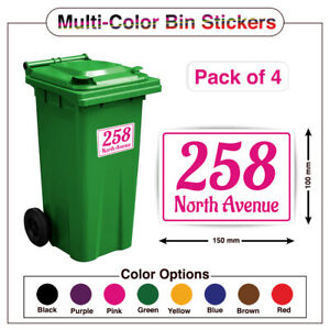 4 X MULTICOLOUR WHEELIE BIN HOUSE NUMBERS ROAD STREET NAME STICKERS A5/A6 PBN06