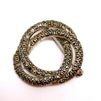 Vintage Marcasite Swirl Brooch. Circular. Antiqued Grey Rhinestone 1950s. Spiral