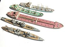 5 Early Folk Art Hand Carved Wooden Miniature WW2 War Ships A Freighter + Cargo