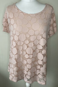 Phase Eight Dusky Pink Layered Spotty Circle Print Top Size 16 Stretch Lined