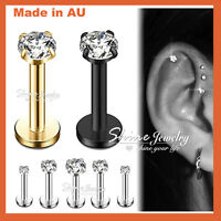 Steel Gold Black Silver Crystal Labret Tragus Ear Earring Lip Bar Stud Piercing
