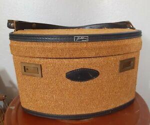 Vintage Hartmann Caravan Tweed Luggage Overnight Carry Case Tweed Yellow w/ key