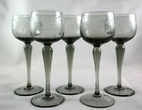 5 Lovely Vintage Crystal hock white wine prosecco glasses - smoked black glass