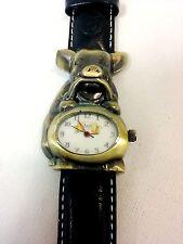 Babe pig Genuine Leather Black Wrist Watch- New