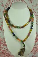 Antique Wat Phra Kaew Thai Amulet 108 Buddhist Prayer Bead Mala 9 Color Necklace