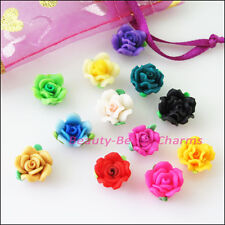 8Pcs Mixed Handmade Polymer Fimo Clay Rose Flower Spacer Beads Charms 12mm
