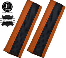2X BLACK PERFORATED & ORANGE LEATHER LUXURY SHOULDER SEAT BELT PADDED PADS