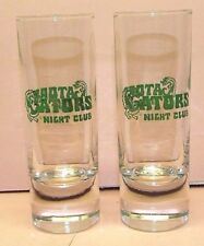 """Set of 2 Gators Night Club Tall Clear 4"""" Shot Glass With Green Lettering EUC"""
