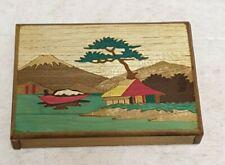 Vintage japonés con incrustaciones de madera Puzzle Novedad Caja Cigarrillos Truco