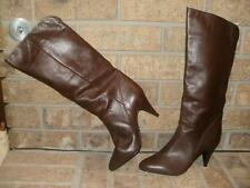 "New Catleia Zelda Brown Leather Fashion Boots 8 M/ Brazil -Mister Shoes 3"" Heel"