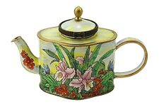 Art Gifts Enamel Copper Hand painted Mini Small Teapot - Lily Butterfly Flower