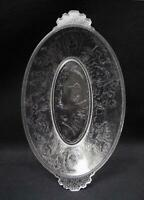 ANTIQUE EAPG CUPIDS HUNT HANDLED DISH CRYSTALLOGRAPHY CRYSTALOID PRESSED GLASS