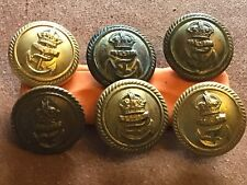 Royal Navy officer's buttons X 6   Gilt Brass 1945 On 23.5mm 9