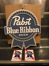Pbr Art Pabst Blue Ribbon Beer ~ 3D Logo 14 X 15 Sign Tacker With Free Stickers