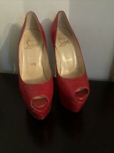 Louboutin Platform Peep Toe Red Snakeskin Size 35