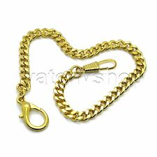 """GOLD Plate Link Pocket Watch Fob Chain 11"""" Lobster Clasp Men Accessory FC45"""