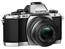 Olympus OM-D E-M10 16.0MP Digital Camera - Silver (Body + LENS + CASE + Memory)