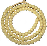 Nice Big Hole Vintage Czech Bohemian Glass Ivory 8mm Padre African Trade Beads