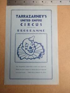 Tarrazarney's United Empire Circus single sheet Program  more image down listing