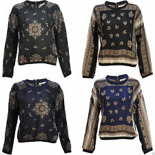 Polyester Paisley Long Sleeve Blouses for Women