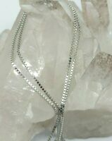 NEW 🌞 14K SOLID WHITE GOLD Box Chain Necklace 🌞 18 inches 🌞 PERFECT