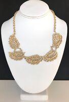 Designer Statement Necklace Textured Gold Tone Leaf Design Premier Chic 6P