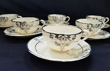 (6) Antique Lenox China  STERLING Silver Overlay Cups & Saucers
