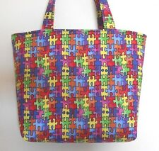 Handmade Autism Jigsaw Puzzle Tote Purse Bag