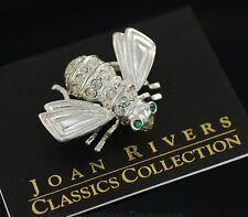 Vintage Joan Rivers Sterling Silver Bee Crystal Made -USA Pin New Rare w/Box etc