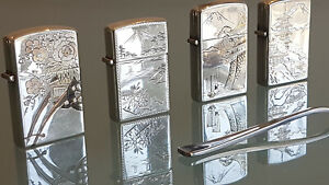 4 JAPANESE VINTAGE LIGHTERS 950 STERLING SILVER WITH HAND ECHED CASES. UNIQUE !