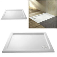 White Stone Resin Rectangle Low Profile Slim 40mm Shower Tray 90mm Waste Sizes